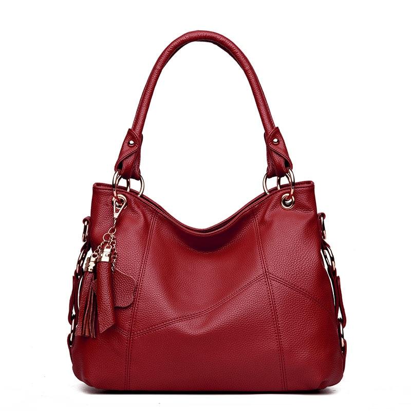 New Large Capacity Versatile Women Pu Shoulder Bags Fashion Casual Solid Zipper Soft Tassel Stitching Leather Handbags Big Bag