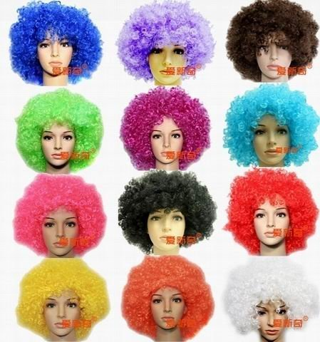 Free Shipping 10pcs/lot Colorful Curly Clown Football Fans Cosplay Hair Head Wig Halloween Party Costume