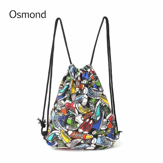 National Women Drawstring Bags Canvas Sack Bag Pack Striped Icecream Backpack College Students Rucksack 15 Styles
