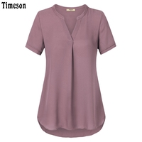 Timeson 2017 Summer Women Blouses V Neck Short Sleeve Chiffon Blouse Shirt Loose Pleated Work Wear