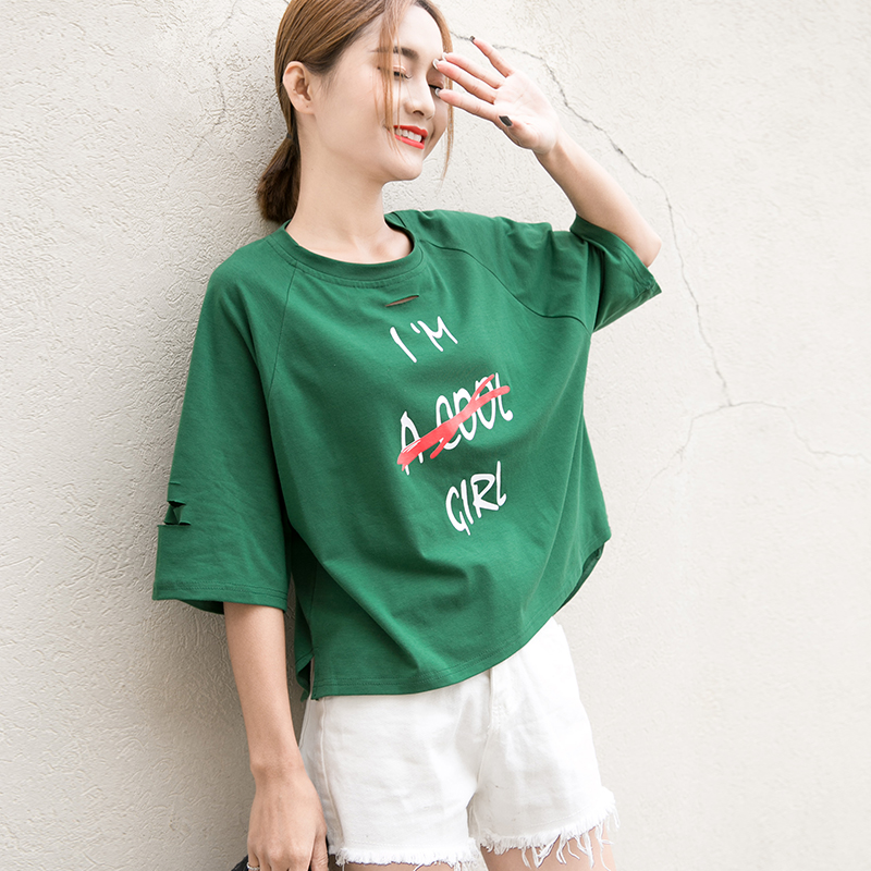 Dandeqi 2017 Women Summer T-shirt Letter Printed Tops Casual Cotton Harajuku Tees Female Plus Size M-XL Loose T-shirts For Women