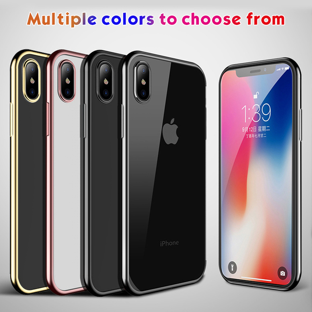 Ultra Thin Plating TPU Case For iPhone XS Max XR X 7 8 6S Plus