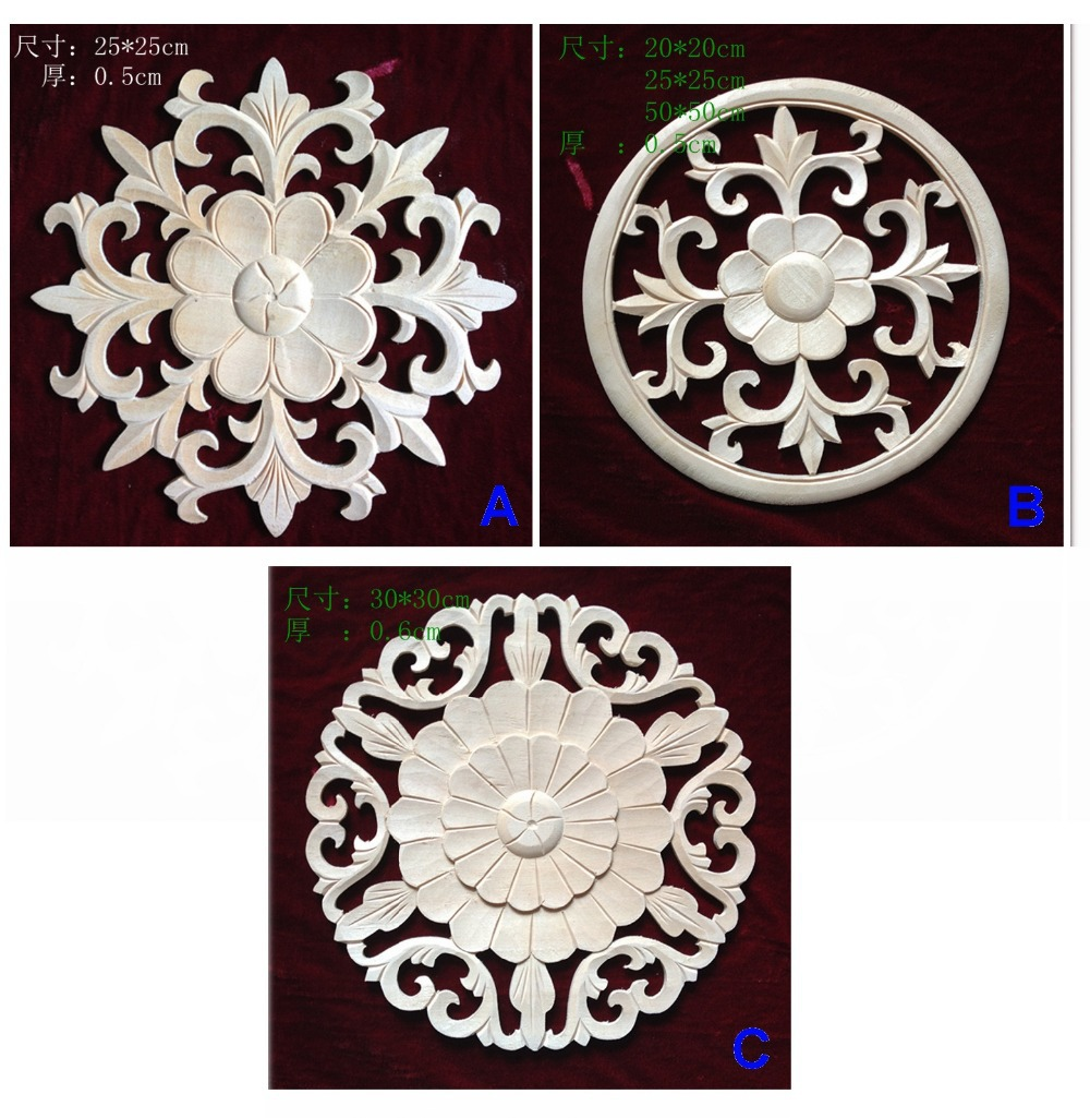 Fashion circle wafer wood applique fashion furniture for Applique furniture decoration