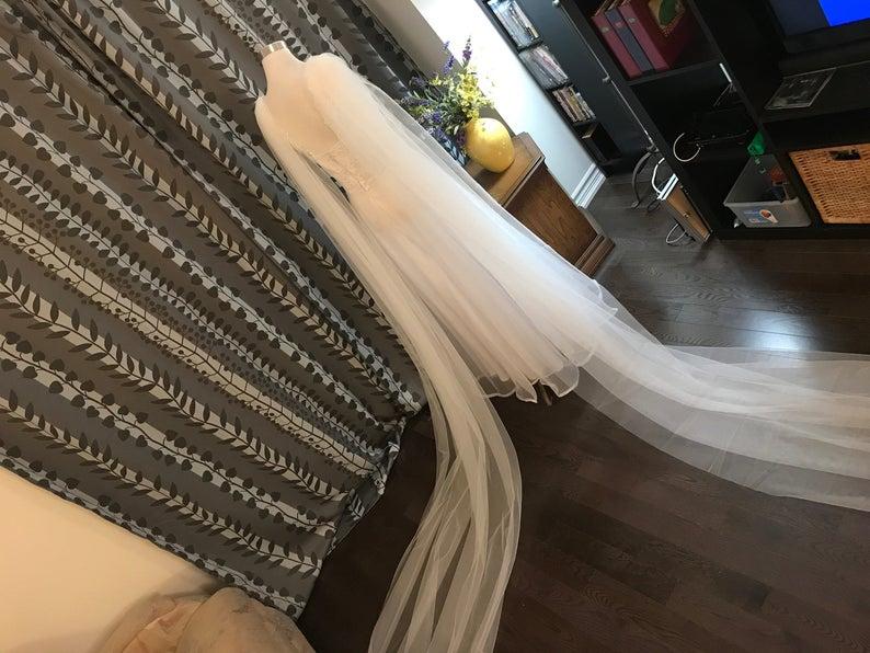 BRIDAL CAPE , Plain/Two Pieces Shoulder Cape 2.5 M / 3M / 3.5M / 4M / 5M  Long In White / Off White / Ivory / Champagne / Black