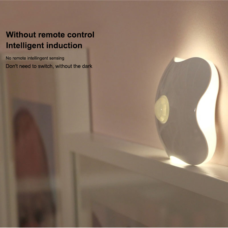 Rechargeable LED Night Light Lamps Four Leaf Clover Luminaria Motion Sensor PIR Intelligent Human Body Induction Bedroom Lamp high quality pir human body induction motion sensor light control led night lamp with magneti