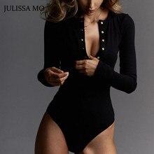 V Neck Knitted Bodysuit Women Black Long Sleeve PU27