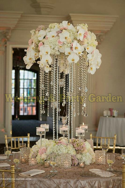 60cm Tall Crystal Table Centerpiece Wedding Square Flower