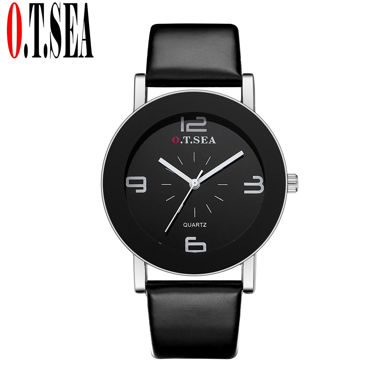 Top O.T.SEA Brand Black&White Leather Watch Fashion Men Women Dress Quartz Wrist Watches Relogio Feminino W369