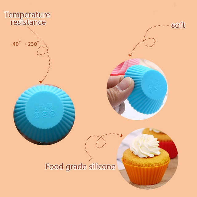 Hoomall 12Pcs Silicone Muffin Cupcake Molds Liner Baking Bakeware Cup Case Party Tray DIY Cake Decorating Tools Random Color