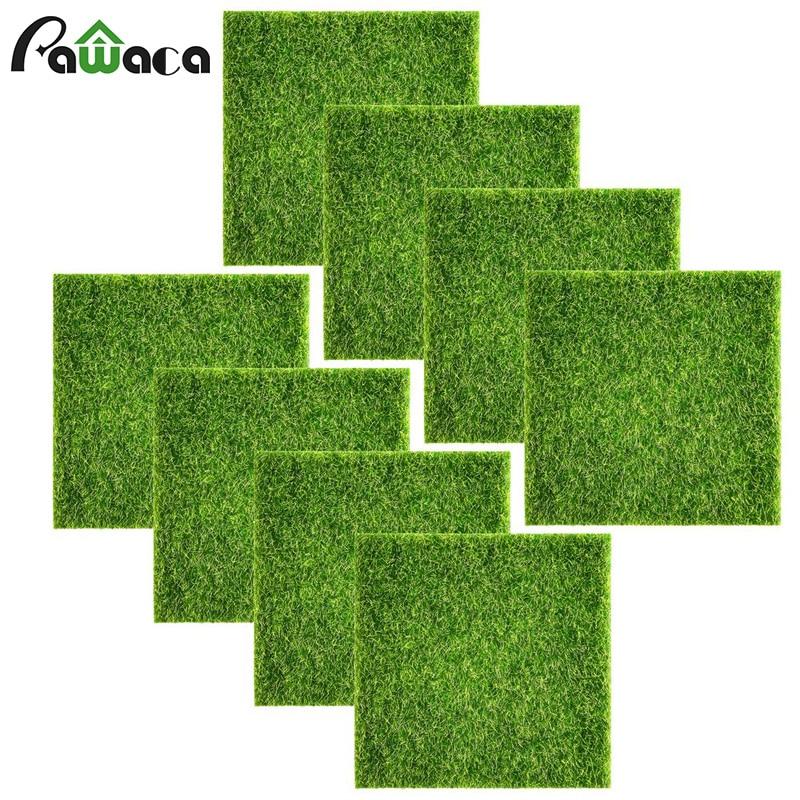 12pcs/8pcs/4pcs Artificial Lawn Miniature Garden Ornament Fake Grass Figurine Craft Simulation Plants Fairy Micro Landscape Moss