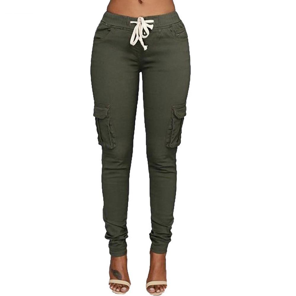 LZMZA High Elastic pants Women 2018 autumn Casual Skinny Pencil Pant female Waist Drawstring Spring Army green Trousers S-XXL