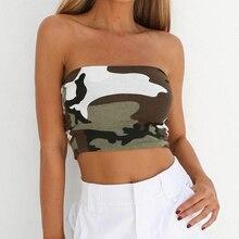 54db8b5d64b New Womens Camo Printed Boob Tube Top Strapless Bandeau Shirt Sexy Stretch  Vest Bralette Crop Top