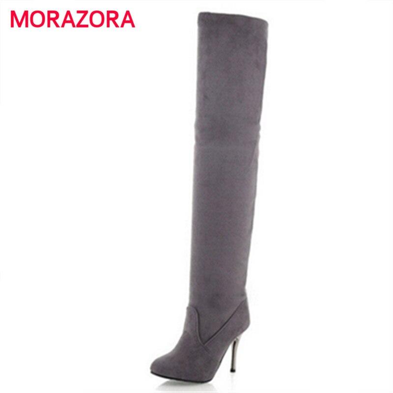 Morazora Plus Größe 34-43 Neue Mode Schuhe über Das Knie Stiefel Frauen High Heels Herbst Spitz Flock Schwarz Dünne Hohe Stiefel Ausgereifte Technologien Überknie-stiefel Damenstiefel