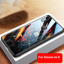Aixuan Tempered Glass Phone Case For Xiaomi Mi 8 Luxury Soft Edge Hard Back Cover Mi8 Shell