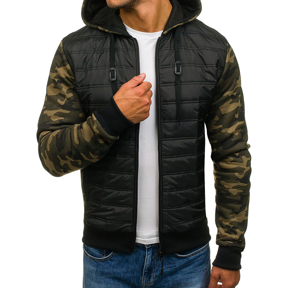 ZOGAA Men Winter Jackets   Parka   Plus Size Camouflage Full Sleeve Patchwork Zipper Hoody Jacket Coat Quality Casual   Parka   Men 2019