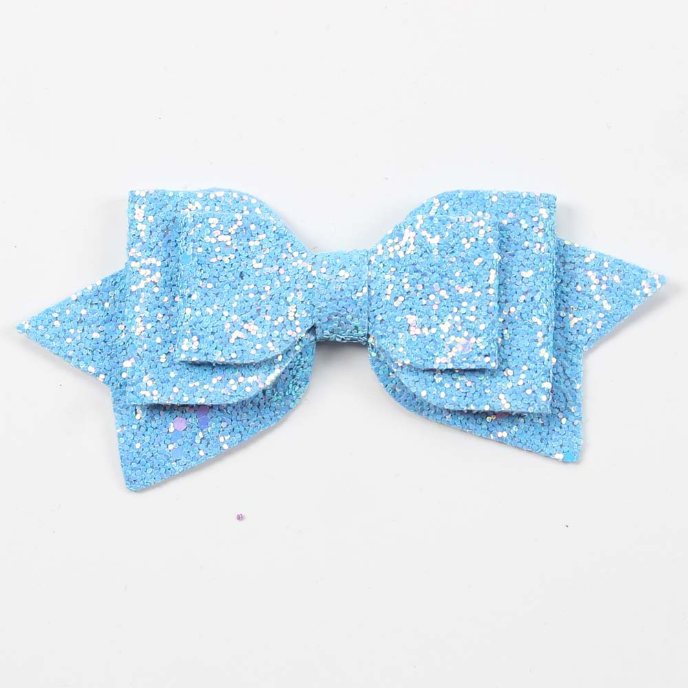 3 4 Or 5 Inch Blue Glitter Children's Hair Bow
