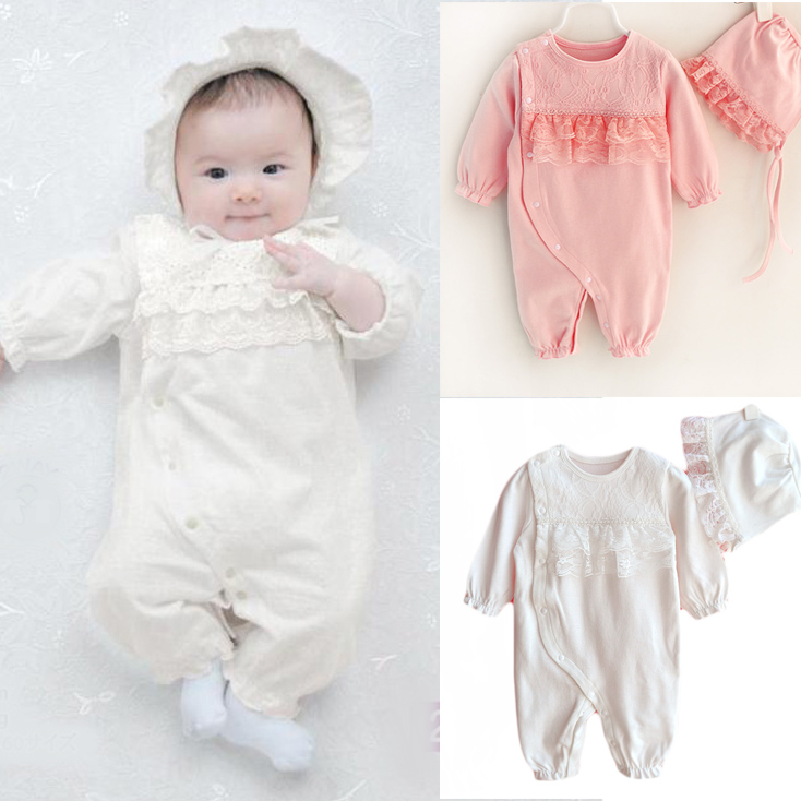 Newborn Romper Long Sleeve Baby Girl Clothes Boutique Formal Princess Lace Jumpsuit & Hats 2-Piece Soft Infant Girls Clothing unisex winter baby clothes long sleeve hooded baby romper one piece covered button infant baby jumpsuit newborn romper for baby