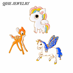 QIHE JEWELRY Candy Rainbow Little Horse Deer Cute Enamel Pin Button Badges Gift For Child Jewelry Animal pins