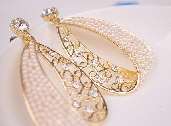 Korea pearl gold plated rhinestone fashion trendy jewelry earrings