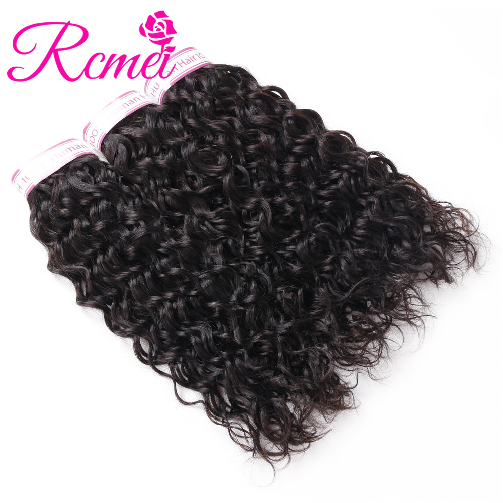 RCMEI Malaysian Water Wave 3 Bundles /Lot Free Shipping Non-Remy Hair 8-28 inch Natural Color 100 Human Hair Weave Extensions
