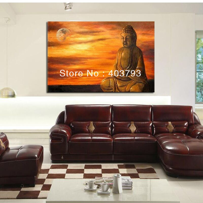 HIGH QUALITY MODERN ABSTRACT HUGE WALL ART OIL PAINTING ON CANVAs BUDDHA AND SUN FREE SHIPPING in Painting Calligraphy from Home Garden