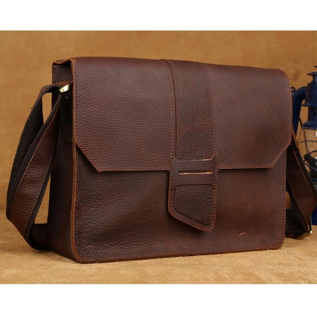 Tiding Men S Messenger Bags Leather Satchel A4 Doent Book Bag Brown Designers Brand Shoulder For