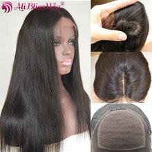 4*4 шелк база прямо Синтетические волосы на кружеве человеческих волос парики Шелковый Топ предварительно сорвал натуральный Цвет Средний Кепки бразильский Реми aliBlissWig