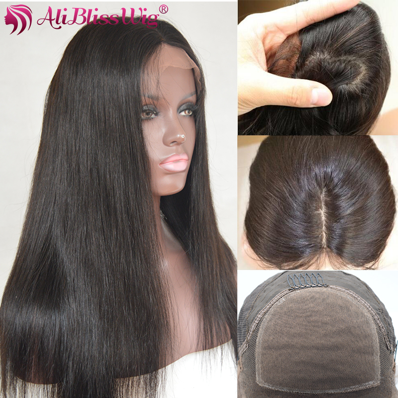4*4 Silk Base Straight Lace Front Human Hair Wigs Silk Top Pre Plucked Natural Color Medium Cap Brazilian Remy AliBlissWig