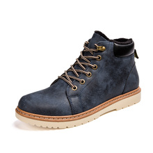 Winter Men Casual Shoes Plush Thick Warm Men Ankle Boots Soft Leather British Fashion Brand Shoes Men Lace-Up Cotton Flats Shoes