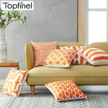 Topfinel Geometric Decorative Orange Throw Pillow Cases Cushion Covers For Sofa Seat Chair Car Microfiber Decorative 45x45 cm(China)
