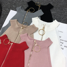 Spring Summer Women Slim Knitting Off shoulder Tank Crop Tops Female Knitted Camisole Cropped Sleeveless Short T shirts Tees