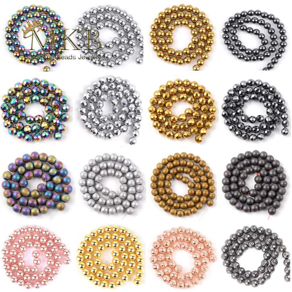 Wholesale 26 Styles Natural Stone Beads Gold Silver Rainbow Rose Gold Hematite Round Beads For Jewelry Making Bracelet Necklace