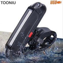 Tooniu USB Charging 100 LM COB LED Bicycle Headlight Taillight 2 Color Safety Warning Bicycle Rear Flash Lights Night Lights(China)