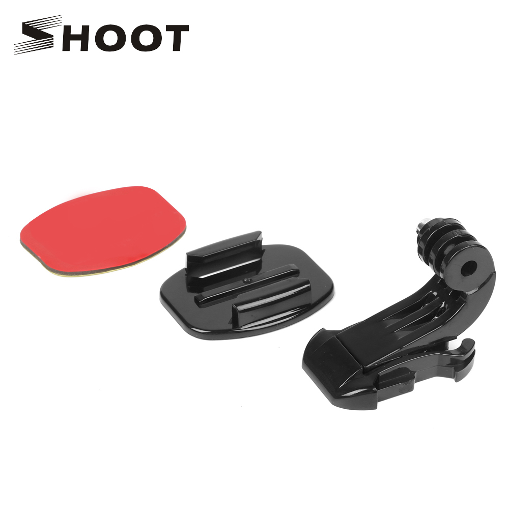 Galleria fotografica SHOOT Action Camera Accessory Kits J-Hook Buckle Flat Surface Mount with Adhesive Sticker For Gopro Hero 6 5 4 Yi 4K SJCAM H9
