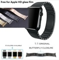 Band for apple watch link bracelet 1:1 copy 316L stainless steel Stealth buckle watchband for iwatch 38/42mm Black Silver  Gold