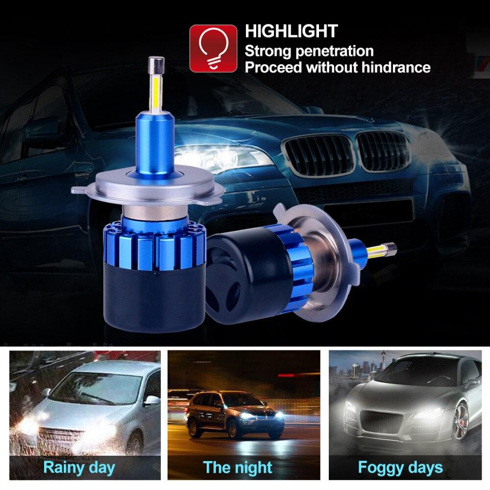 2018 H1 H4 H8 H11 H7 880 9005 9006 автомобилей Светодиодный шарика фары 50 Вт 10000LM реальных чипов Automible налобный фонарь спереди свет работы 6500 К 12 В