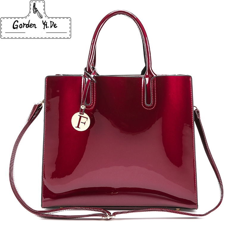 Bright Solid Patent Leather Women Fashion Bags Ladies Simple Luxury Handbags Casual Shoulder Messenger Bags Sac A Main Tote bag 2017 fashion women leather bags ladies simple luxury women handbags casual women s shoulder messenger bags sac a main mummy tote