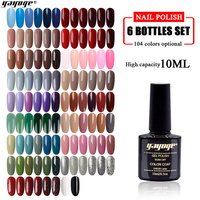 Yayoge Gel Nail Polish 6 Color Series 6in1 Nail UV Gel Varnish Set Blue Red White No irritating smell Darker color saturation