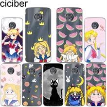 ciciber for Motorola Moto C Z2 Z3 ONE P30 G4 G5 G5S G6 E3 E4 E5 Play Plus Power M X4 Soft Silicone TPU Sailor Moon Phone Cases