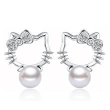 Серебряные Шамбала супер с блестящими стразами камень имитация жемчуга Серьги Мода hello kitty ювелирные изделия 8 мм