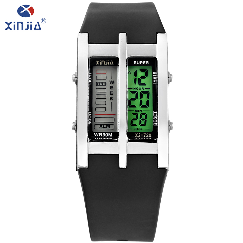 XINJIA Mens Watches Digital Business Dual display watch Fashion Luxury Brand Watch Calendar stopwatch 30M Water Resistant XJ-729 250 grams top grade stallion siberian horsetail bowhair 78 cm violin viola cello double bass bow horse hair white bow hair
