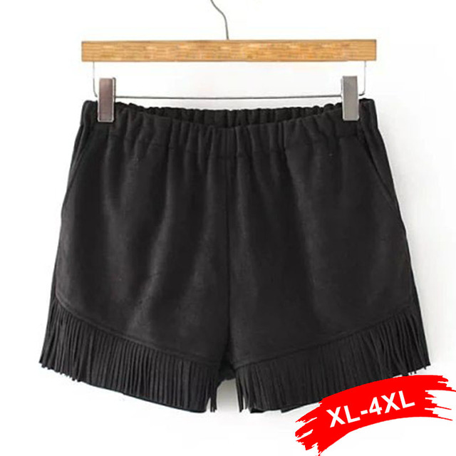 Plus Size Fashion Tassel Suede Shorts Xl 3Xl 4Xl Women Retro Elastic Waist Sashes Brown Black Shorts Casual Autumn Winter Sexy