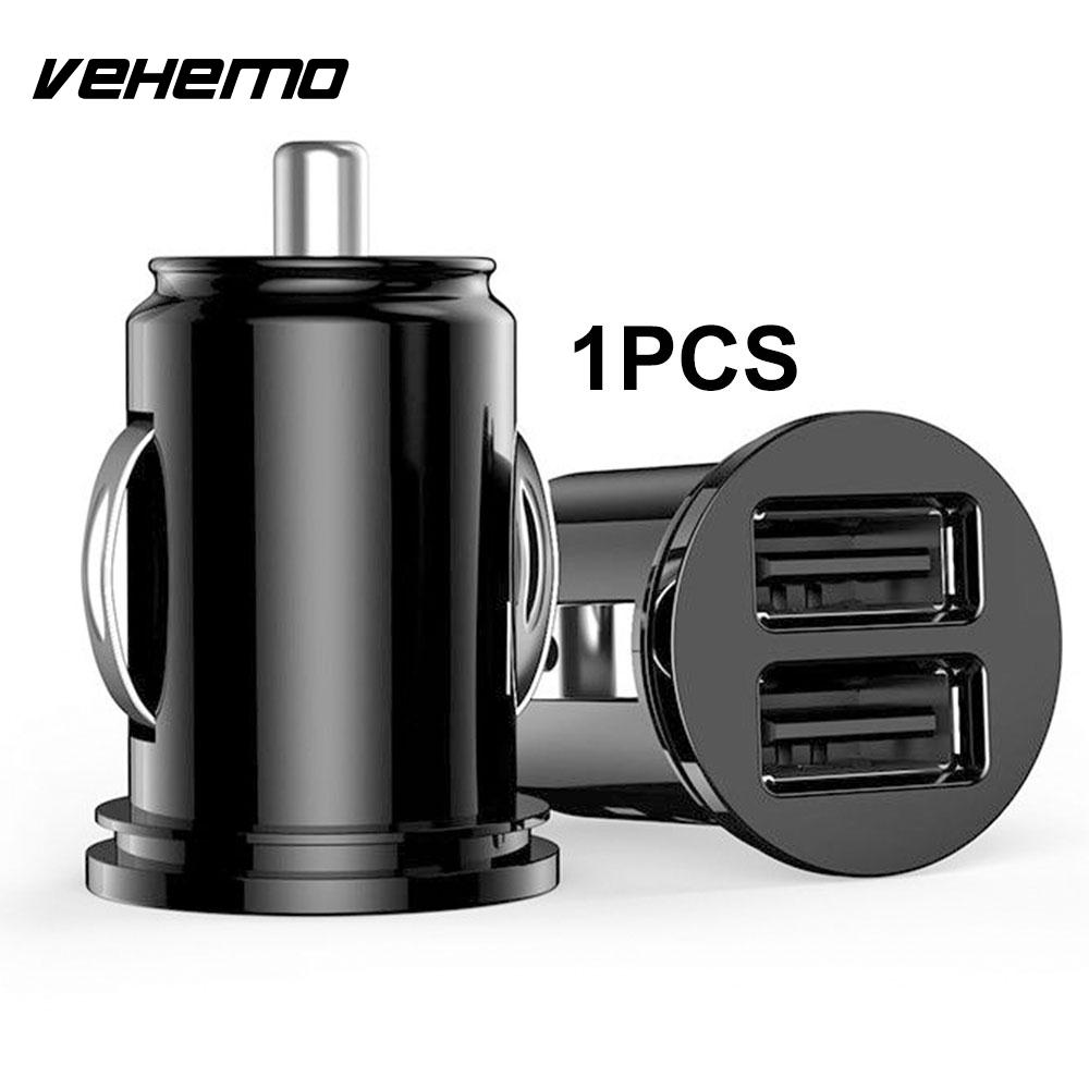 Vehemo Dual USB Автомобильное зарядное устройство Автомобильное быстрое зарядное устройство телефон адаптер для прикуривателя Авто зарядное устройство gps навигатор Pad - Название цвета: Black