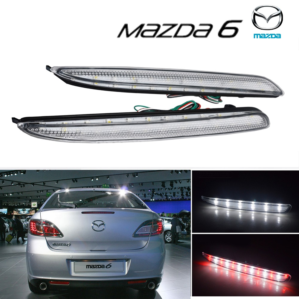 2x Mazda 6 Clear Rear Bumper Reflector LED Reverse Brake