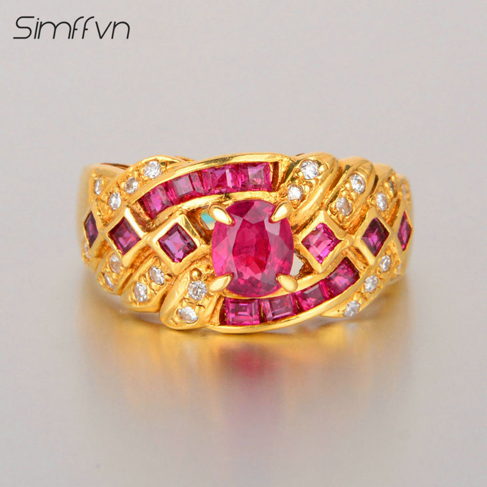Luxuriou Style 1.8Ct Ruby Gemstone Ring With Client Stated Natural Diamond Stamped By 18K Yellow Gold Engagement Ring
