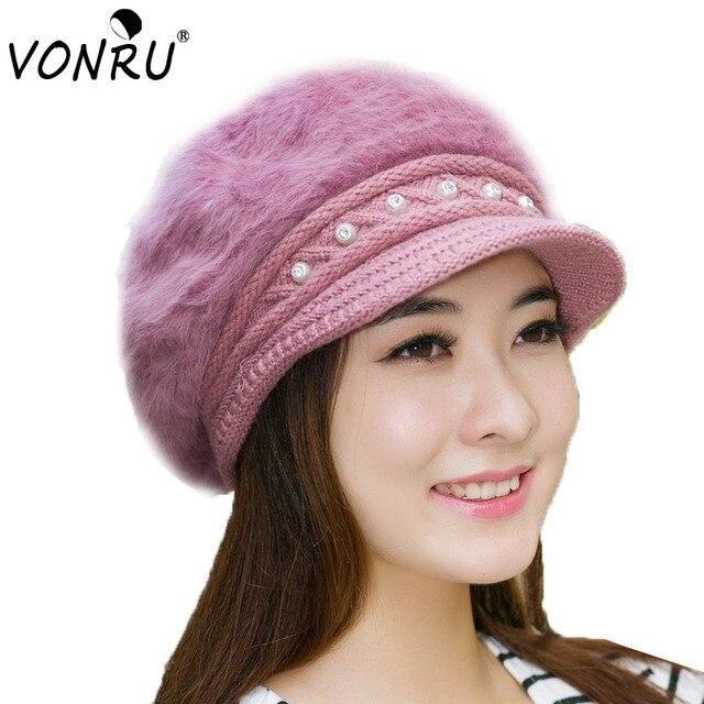 Dressy Women s Hats Winter Beanie for Female Gorros Skullies   Beanies High  Quality Rabbit Fur Ladies 055b51eae07