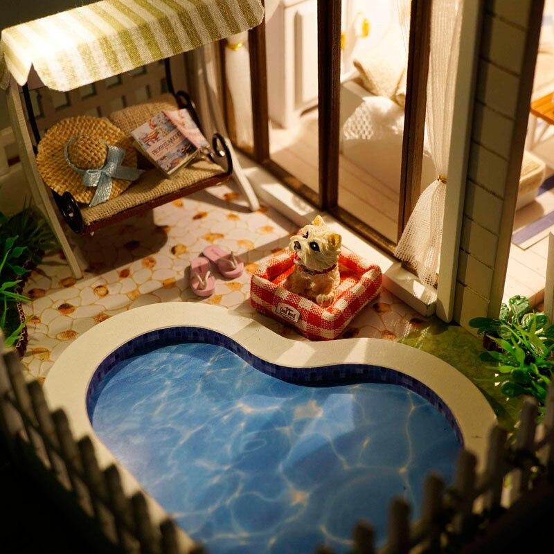 Envío Gratis montaje DIY Kit de modelo en miniatura casa de muñecas de madera, casa de apartamento de París juguete con muebles-in Muñecas de porcelana from Juguetes y pasatiempos    3