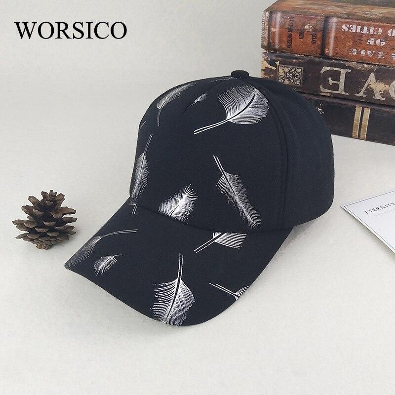 Prix pour [WORSICO] nouvelle Arrivée Noir Plume Motif Femmes de Casquette de baseball De Mode Coton casquette os gorras Belle chapeau pour Femmes cap