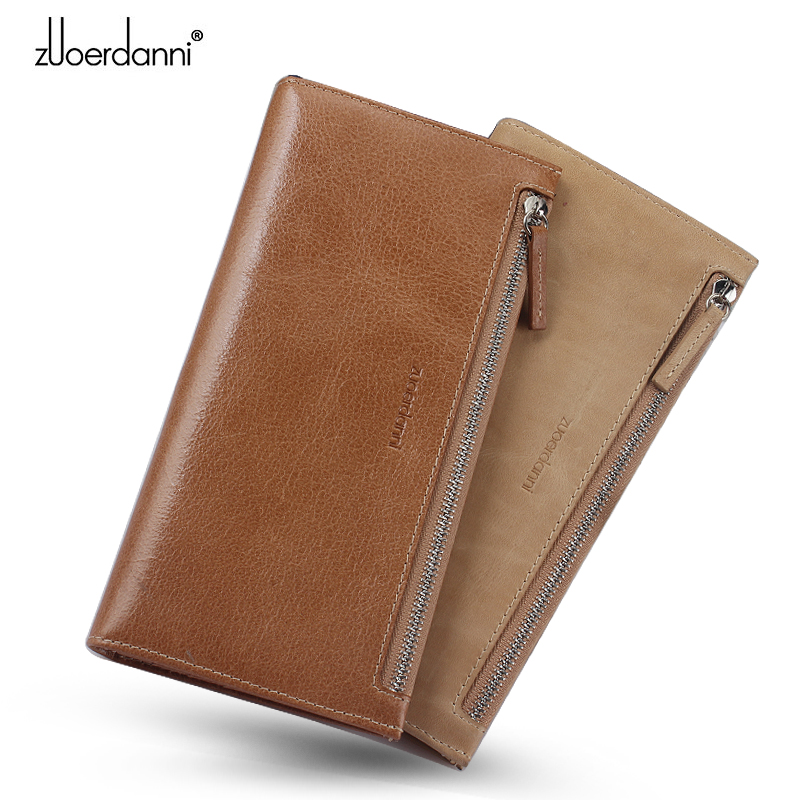 Long Phone Wallet Men Zipper Coin Purse Retro Thin Wallets Soft Oil Wax Leather Male Quality Cowhide Card Holder Money Bag simline fashion genuine leather real cowhide women lady short slim wallet wallets purse card holder zipper coin pocket ladies