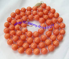 "Woman's Jewellery 34"" Amazing genuine 10mm round pink coral beads Necklace Wholesale Silver hook Free Shipping(China)"